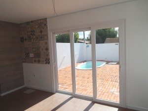 Porta janela em Pvc branco, 3 folhas