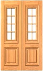 Porta interna dupla para vidros com almofada inferior